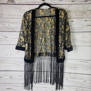 Tops - Gold Black Open Front Fringe Blouse Top NWT